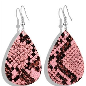4/$25 Handmade python print leather earrings